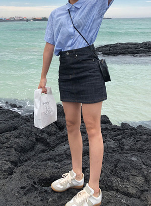 real denim mini skirt
